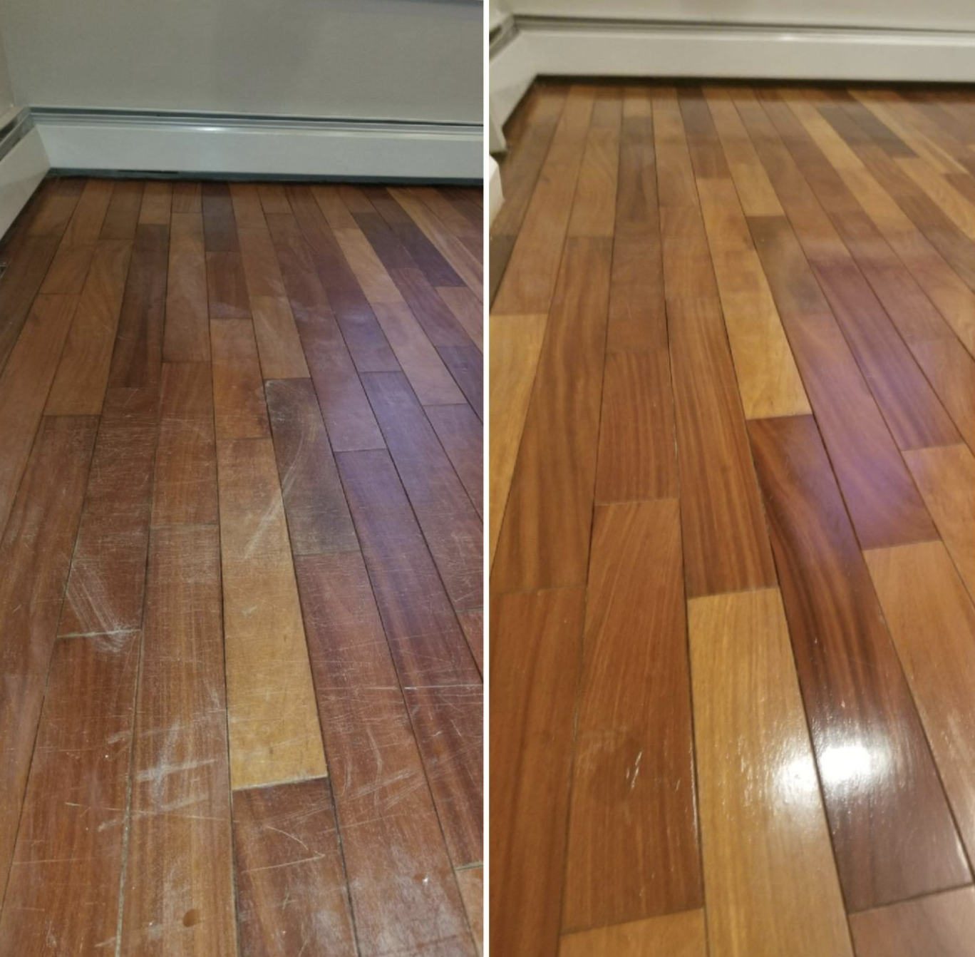 Reviewer's before/after pic of wood floors with the after pic showing shiny, scratch-free floors