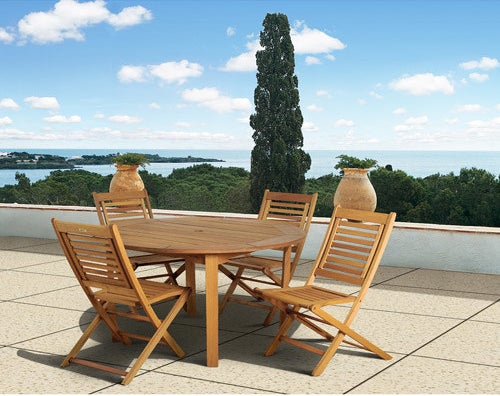 The Milano FSC Eucalyptus Wood 5-Piece Round Patio Dining Set with 4 Folding Chairs on an outdoor patio
