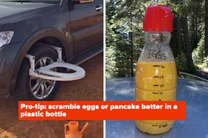 Toilet attached to car tire; eggs scrambled inside of a water bottle