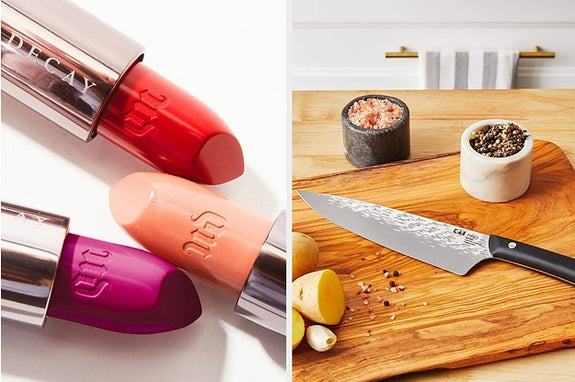 to the left: three lipsticks, to the right: a chef's knife
