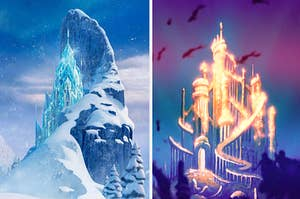 Elsa's castle from Frozen and Atlantica from the little mermaid