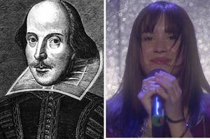 """On the left, an illustration of William Shakespeare, and on the right, Demi Lovato as Mitchie in """"Camp Rock"""""""