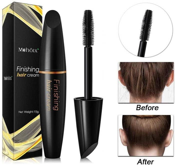 A mascara like wand and a before and after pictures of hair with baby hairs and then hair smoothed