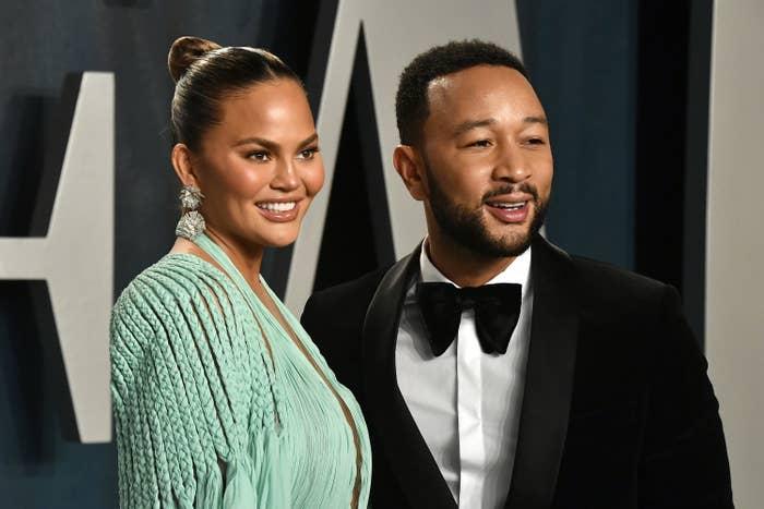 Chrissy Teigen and John Legend attend the 2020 Vanity Fair Oscar Party