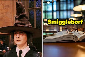 """Harry Potter is wearing a sorting hat on the left with an open book on a library table on the right, labeled """"Smiggleborf"""""""