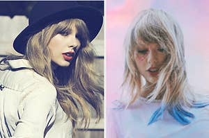 Taylor Swift is on the left in a top hat and on the right in the clouds