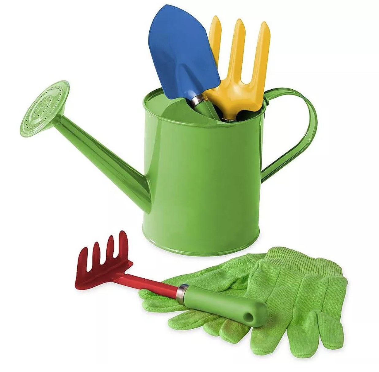 Green gardening toolset with a trowel, fork, hand rake, gloves, and watering can