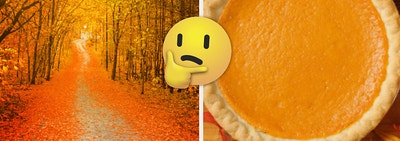 Fall foliage on the left, with leaves across the road, and a pumpkin pie on the right with a thinking face emoji