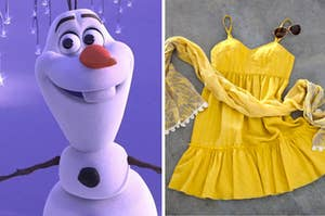 Olaf is standing in the snow under icicles with a sundress, scarf, and sunglasses on the right