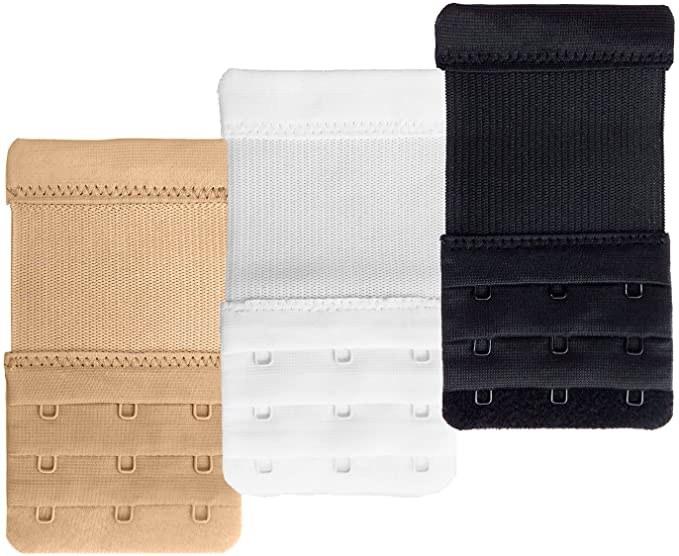 Three bra extenders in beige white and black