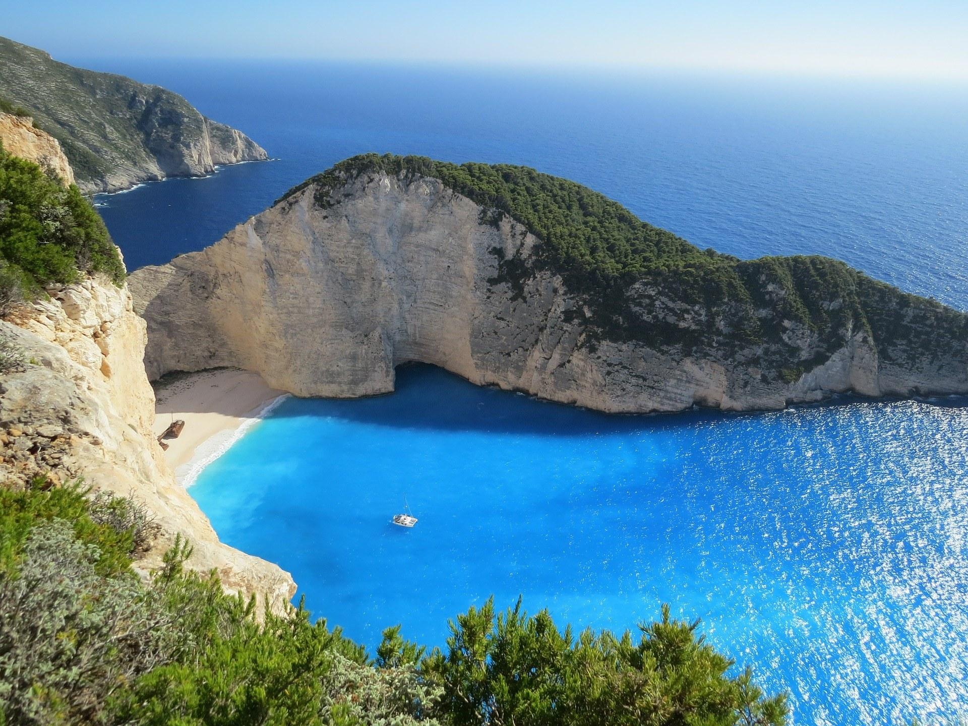 An idyllic bay in Greece.