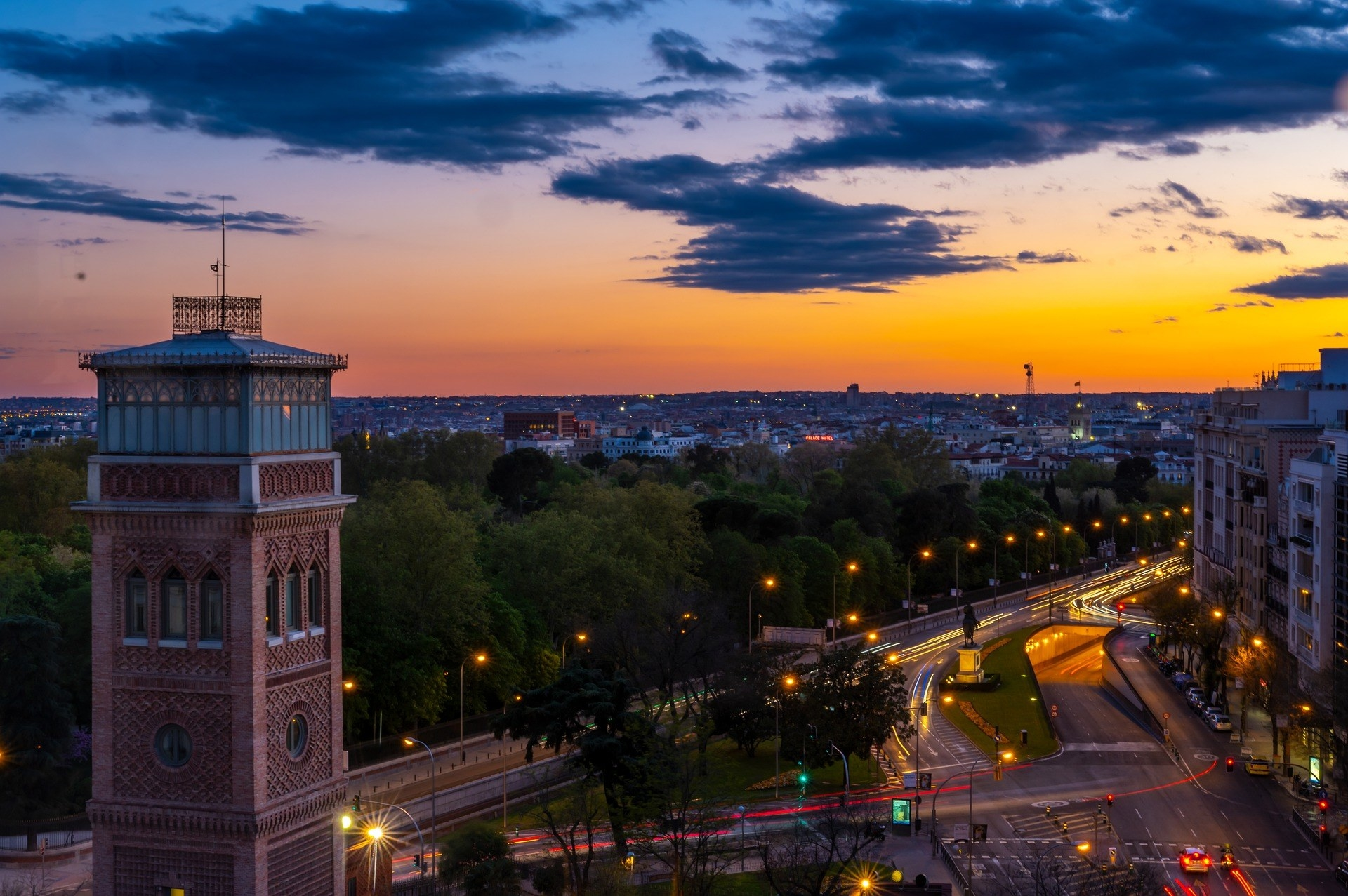 Night view of Madrid in Spain.