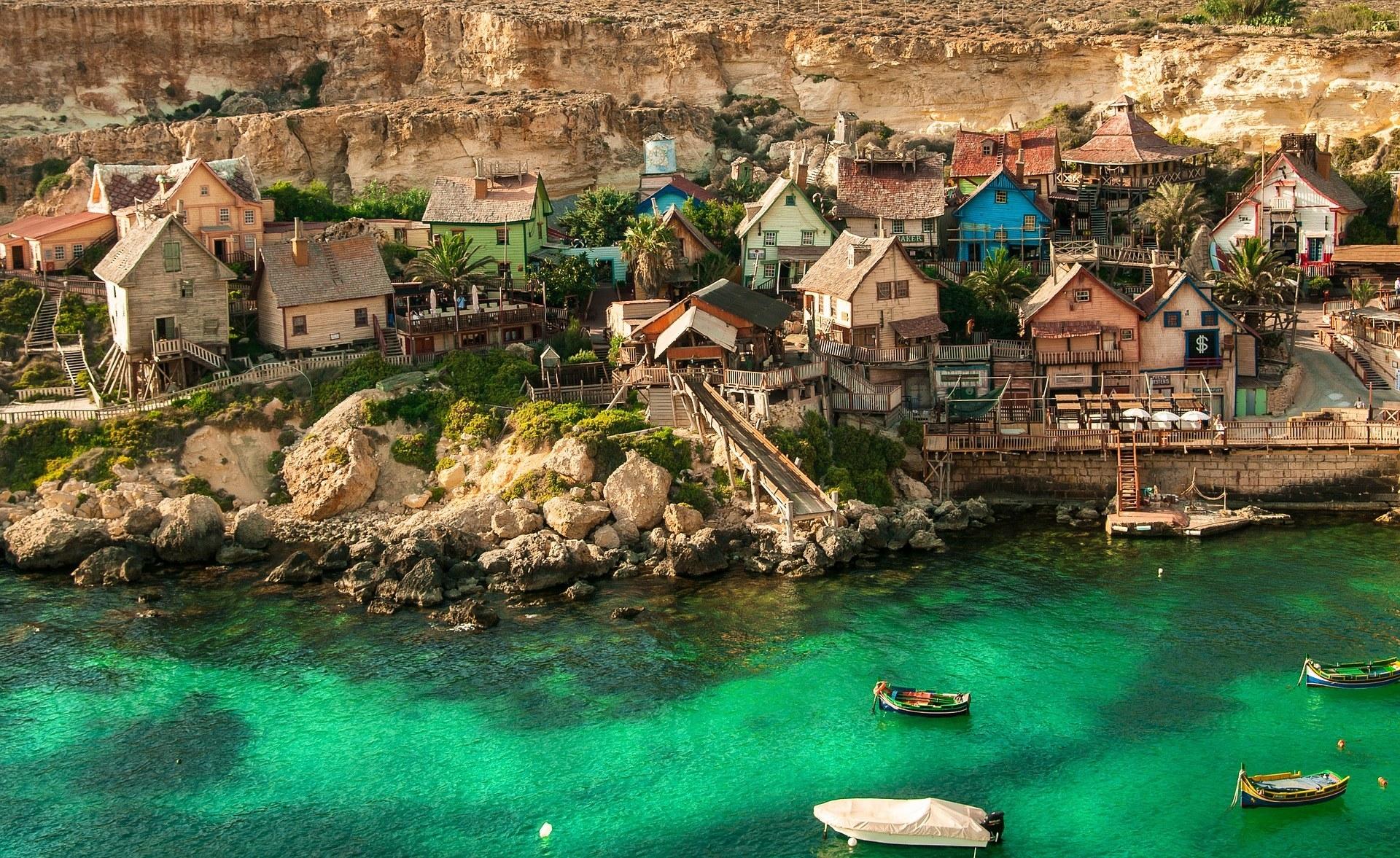 A village on the coast of Malta.