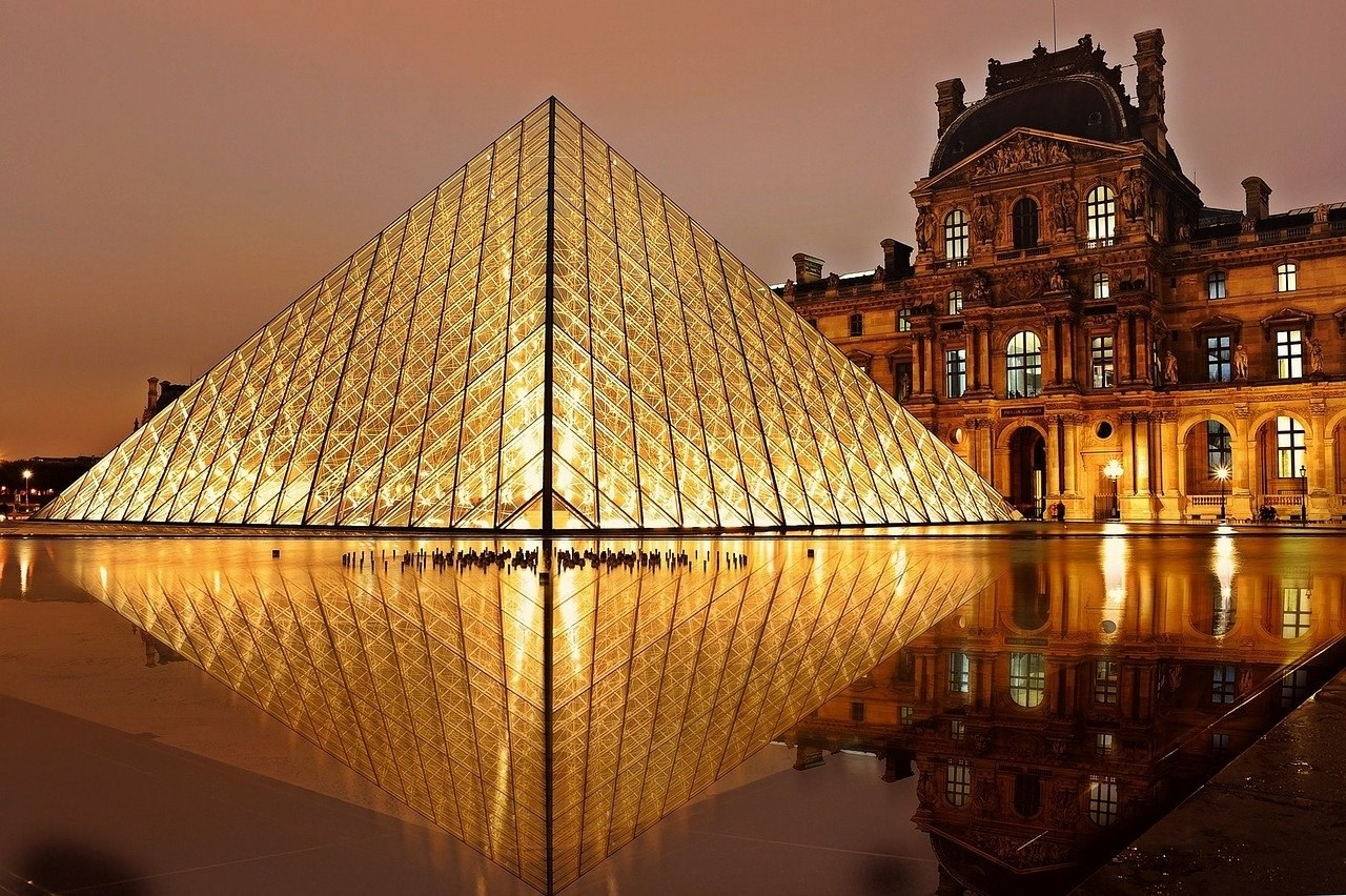 Night view of the Louvre in Paris.