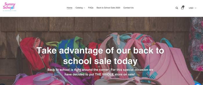 Sunny School Store's homepage.