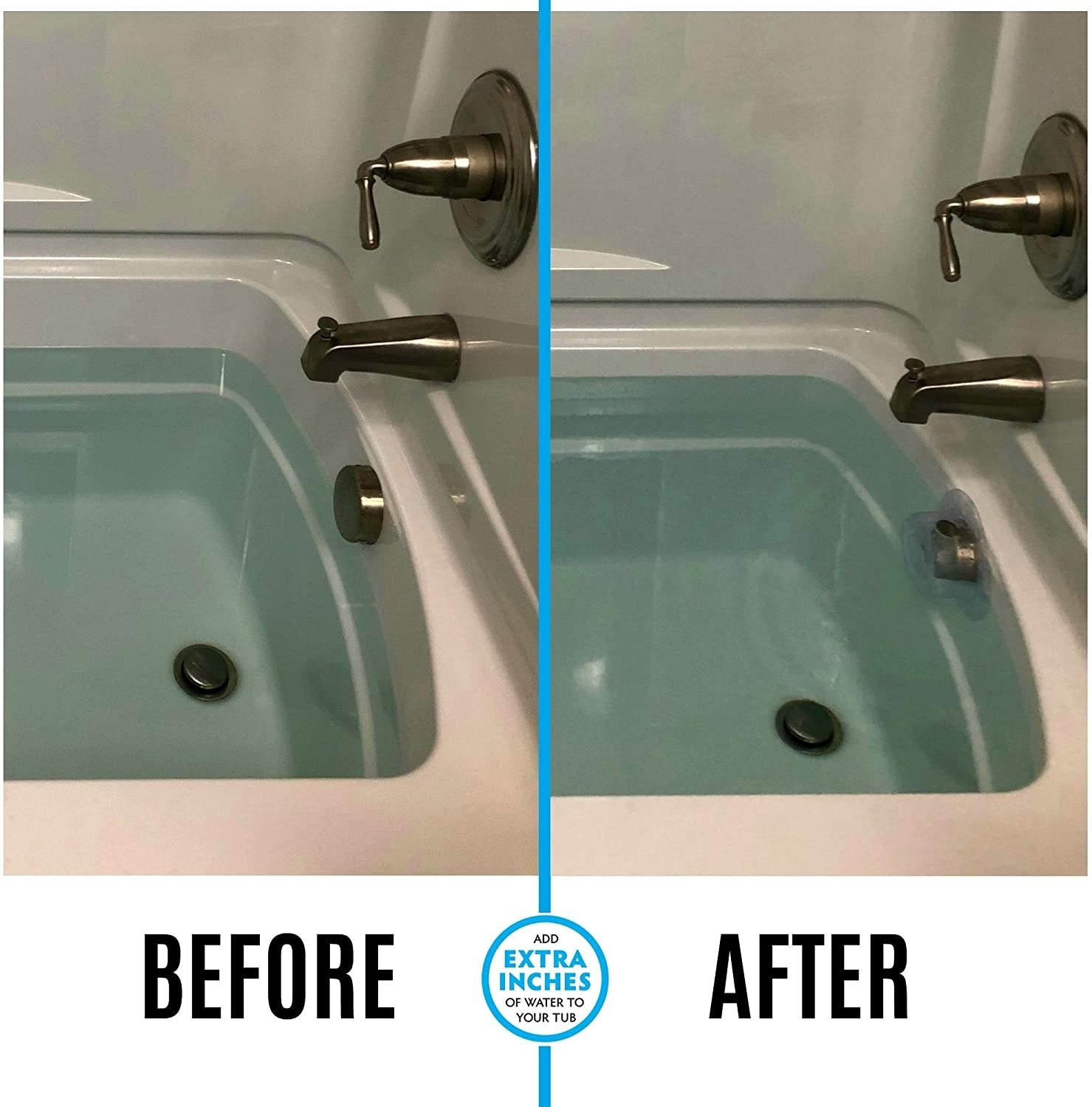 A tub with water several inches below the surface and an after picture with a drain cover and the water closer to the top of the tub