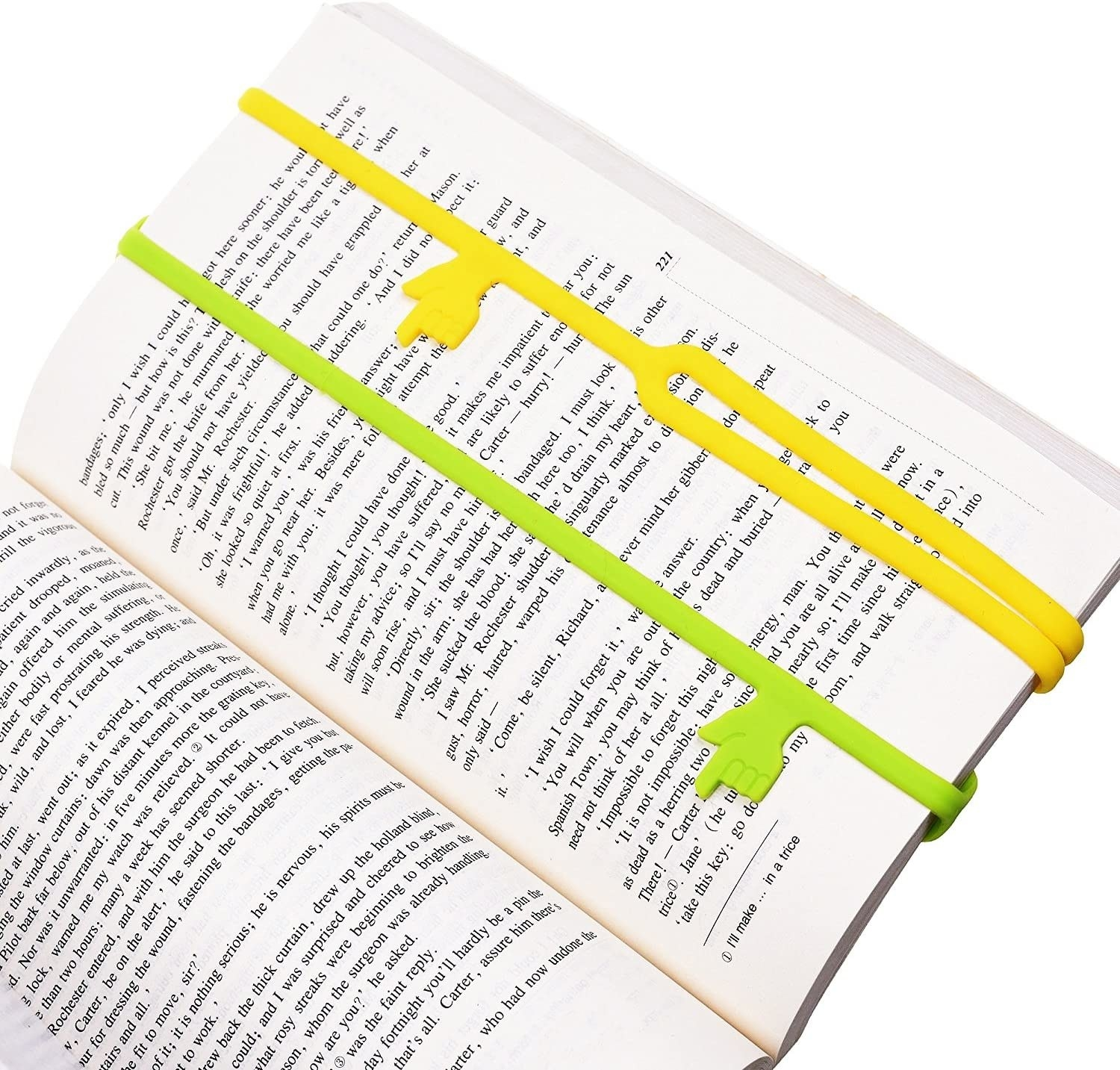 Two silicone bookmarks pointing to different lines on the same page
