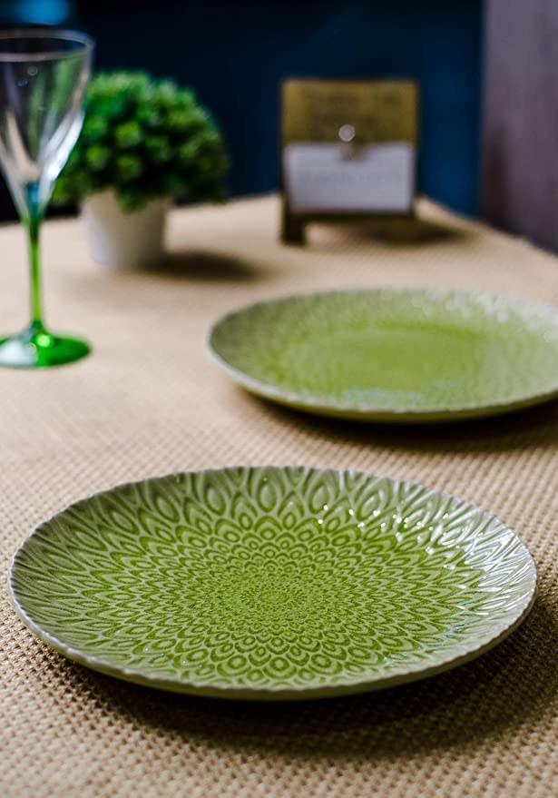 Lime green ceramic plates.