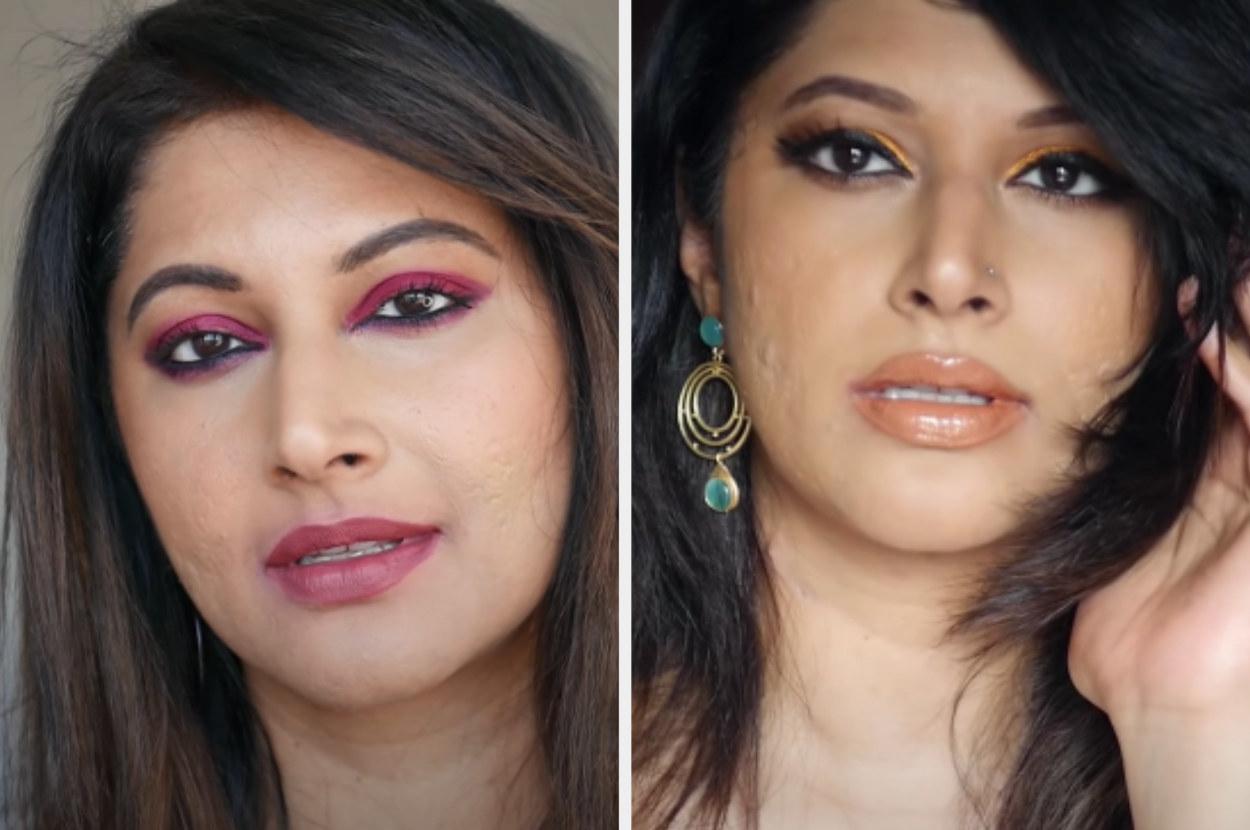 youtuber Shweta Vijay flaunting her makeup skills