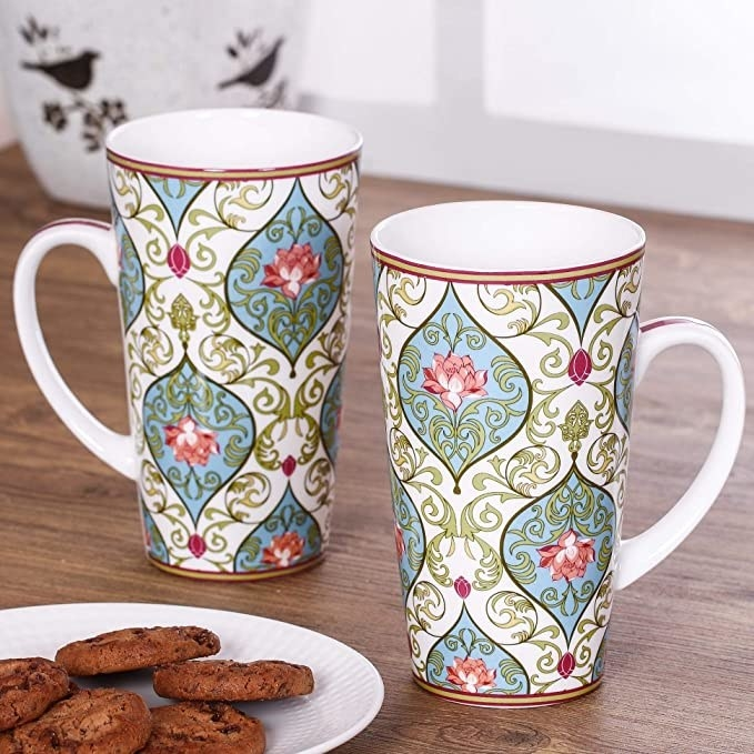 Tall mugs with an Indian floral print.