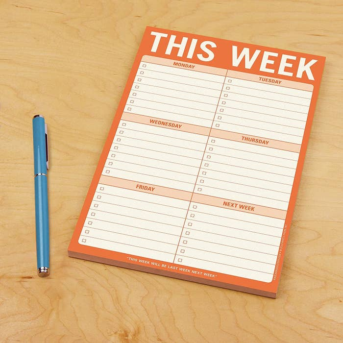 A notepad with space to write under for each weekday and next week's goals