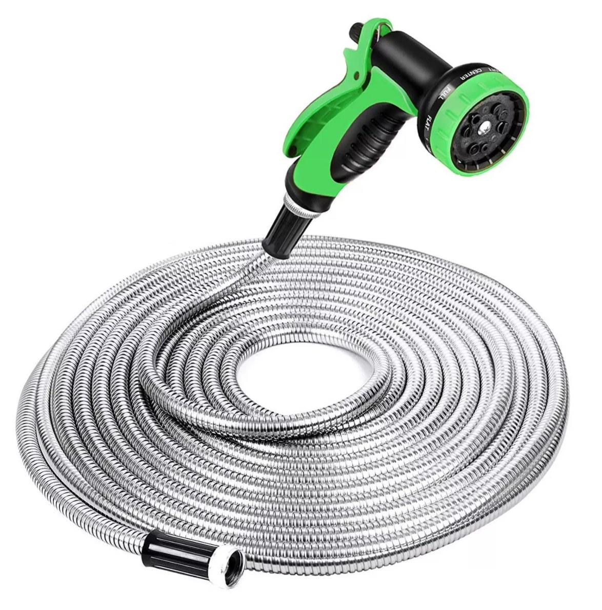 A long silver-looking hose with a green and black nozzle