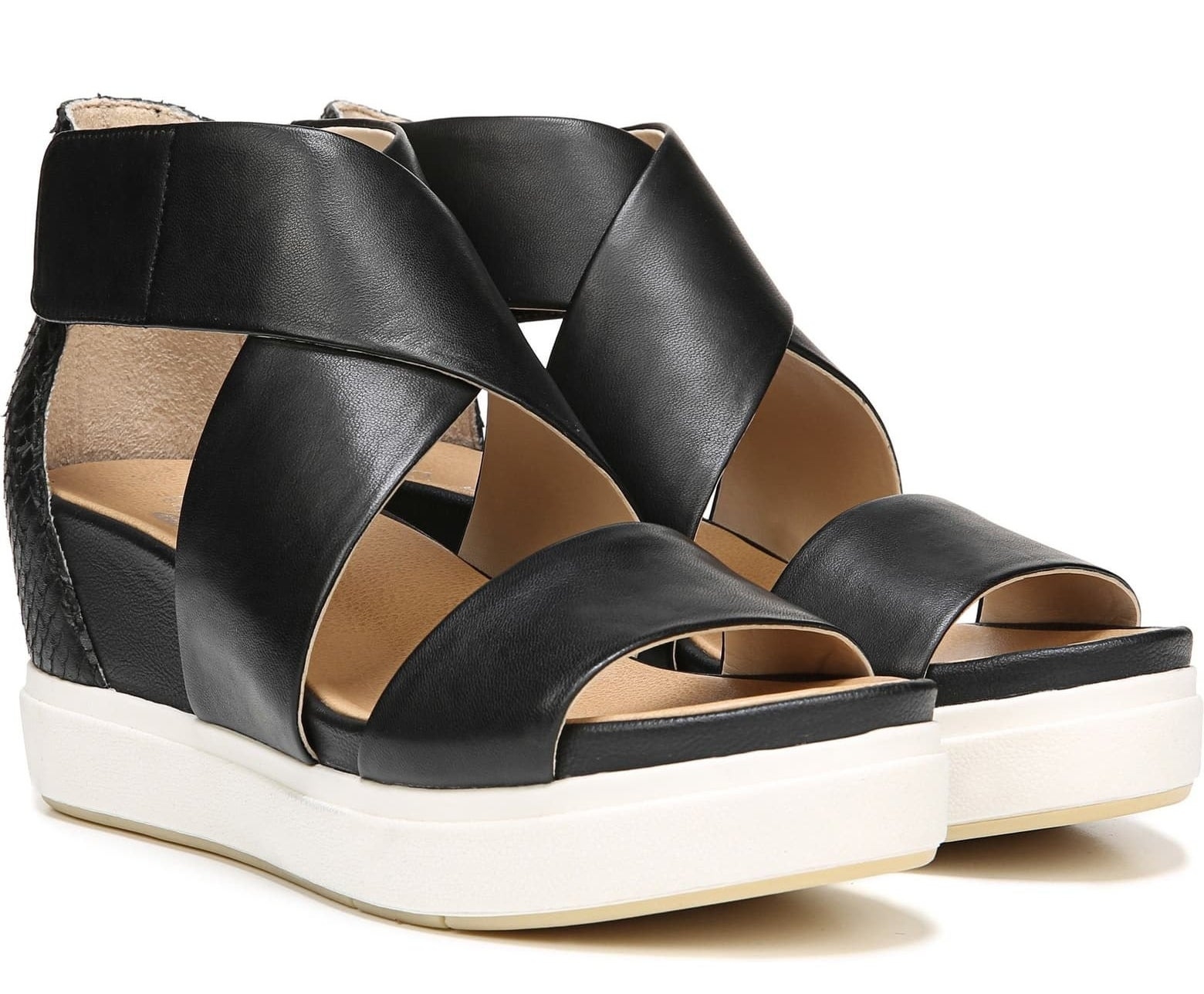 The strappy wedges with white thick sole