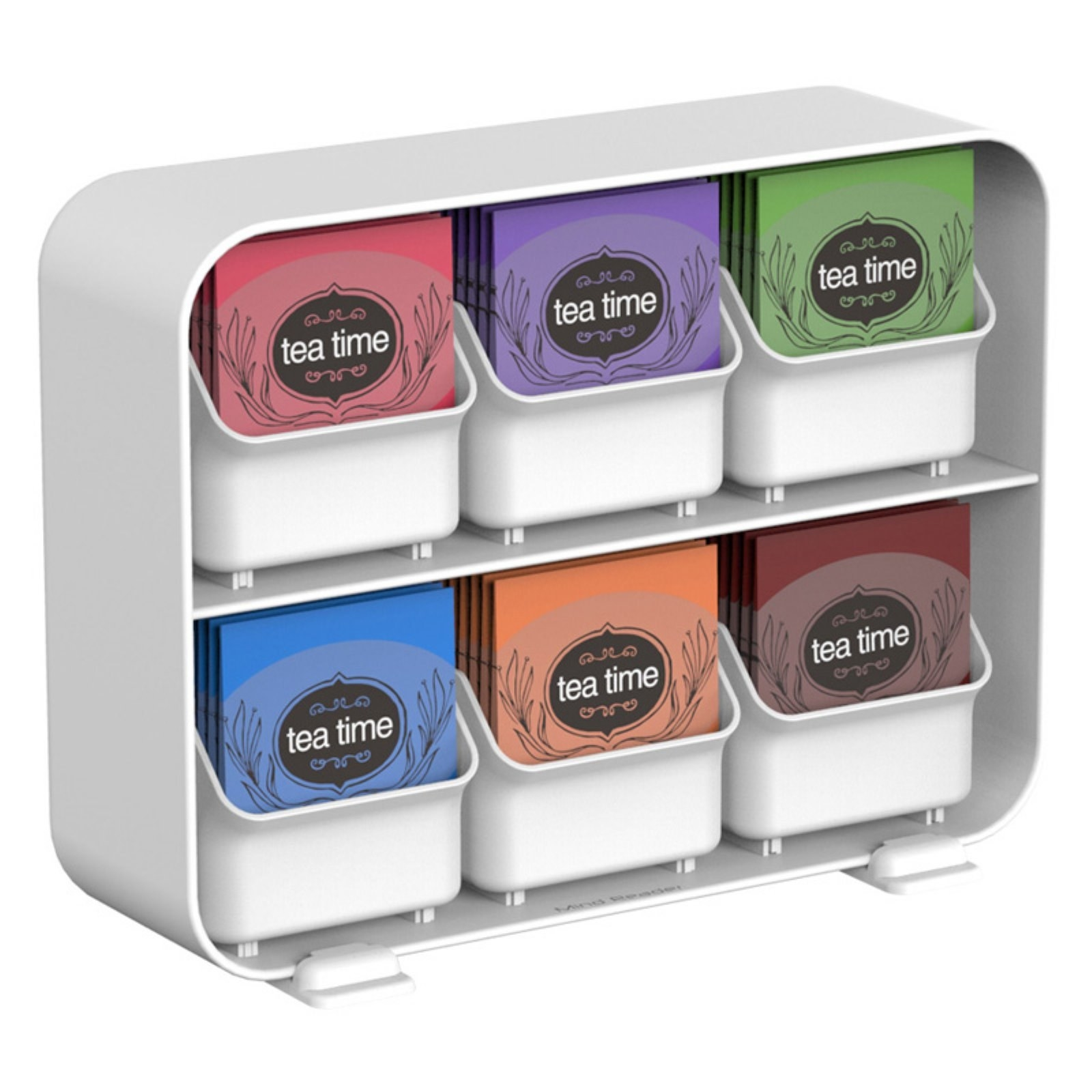 Product photo of Mind Reader tea bag organizer in white, featuring 6 removable drawers