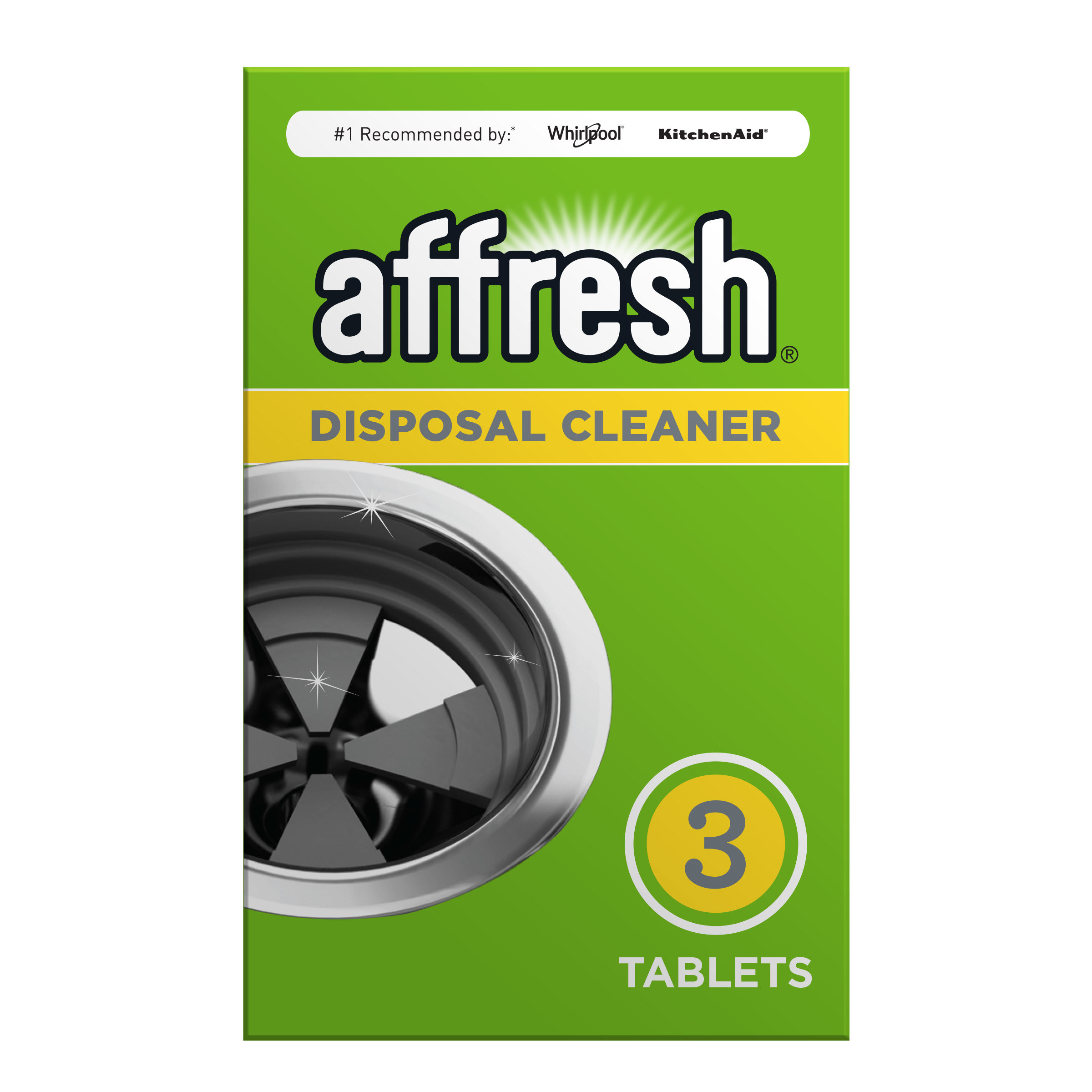 Product photo showing Affresh Garbage Disposal Cleaner outer packaging, recommended by Whirlpool and Kitchen Aid