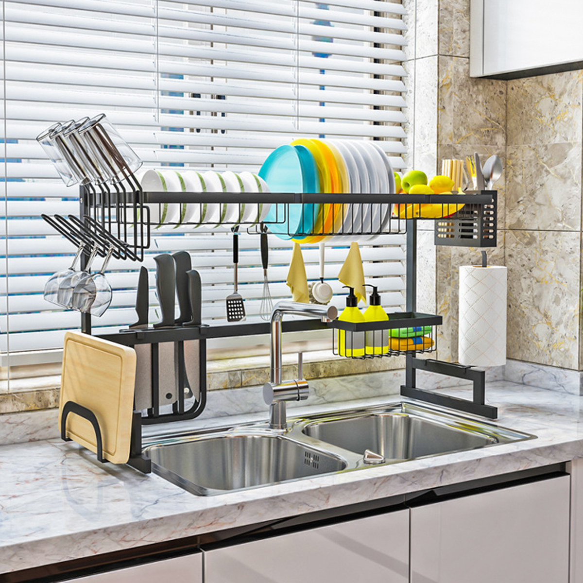 Product photo of over sink dish drying rack featuring plate and bowl rack, pegs for drying cups and hanging kitchen utensils, and a shelf for dish cleaning products