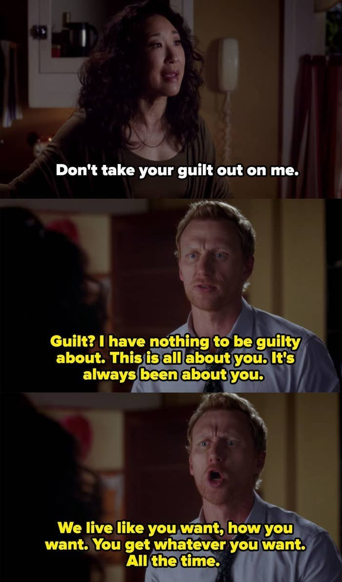 Owen yelling at Cristina because he thinks everything is always about her.