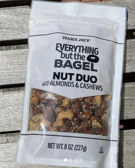 Bag of Trader Joe's Everything But the Bagel Nut Duo against a wood background