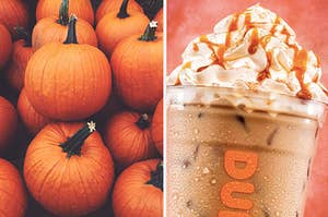 A pile of pumpkins on the left with a Dunkin' pumpkin iced latte on the right, topped with whipped cream and caramel drizzle