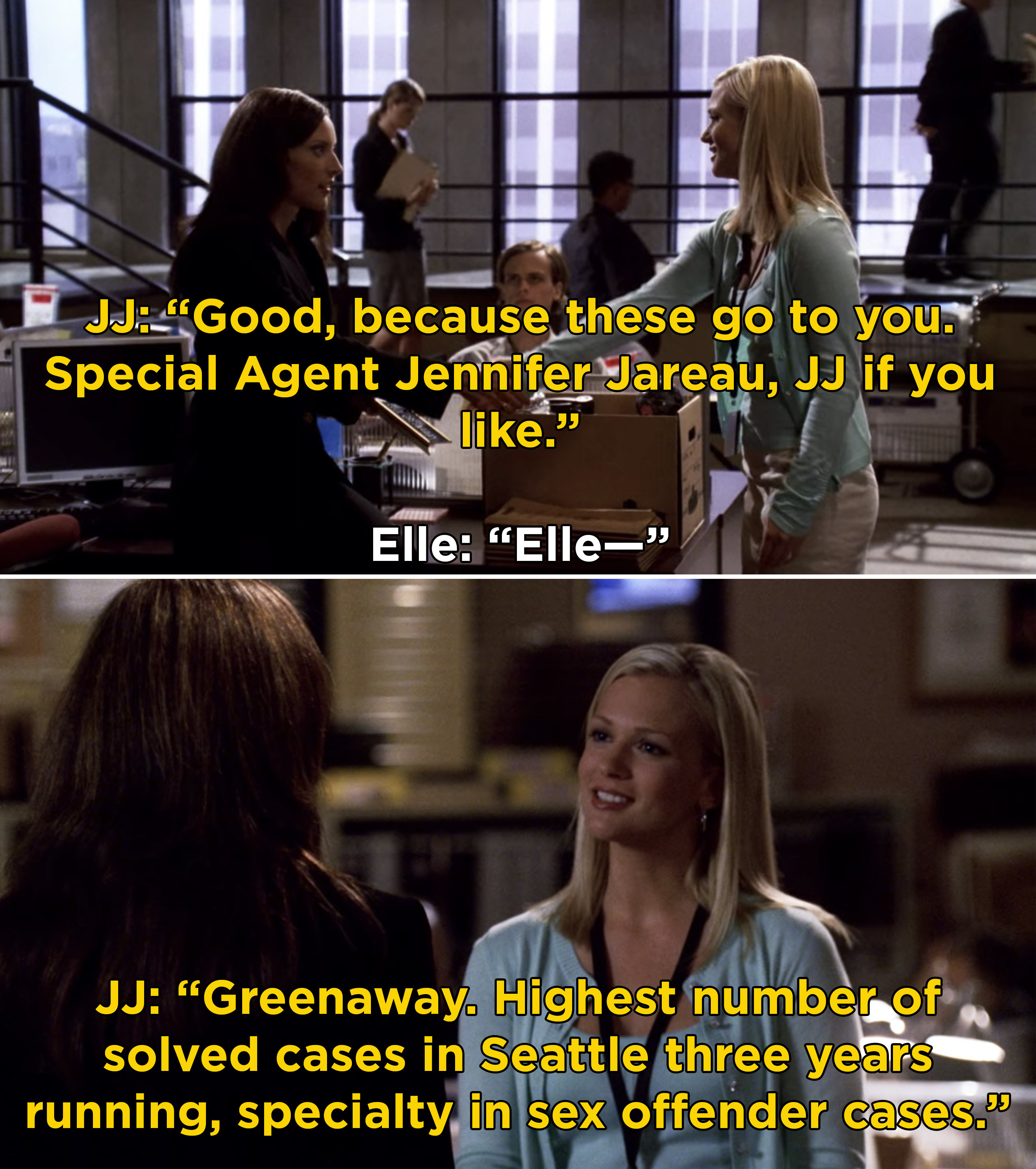 JJ introducing herself to Elle