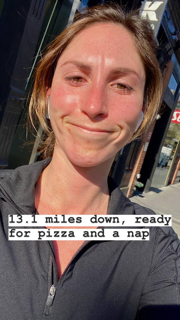 """A selfie after my first solo """"half-marathon."""""""
