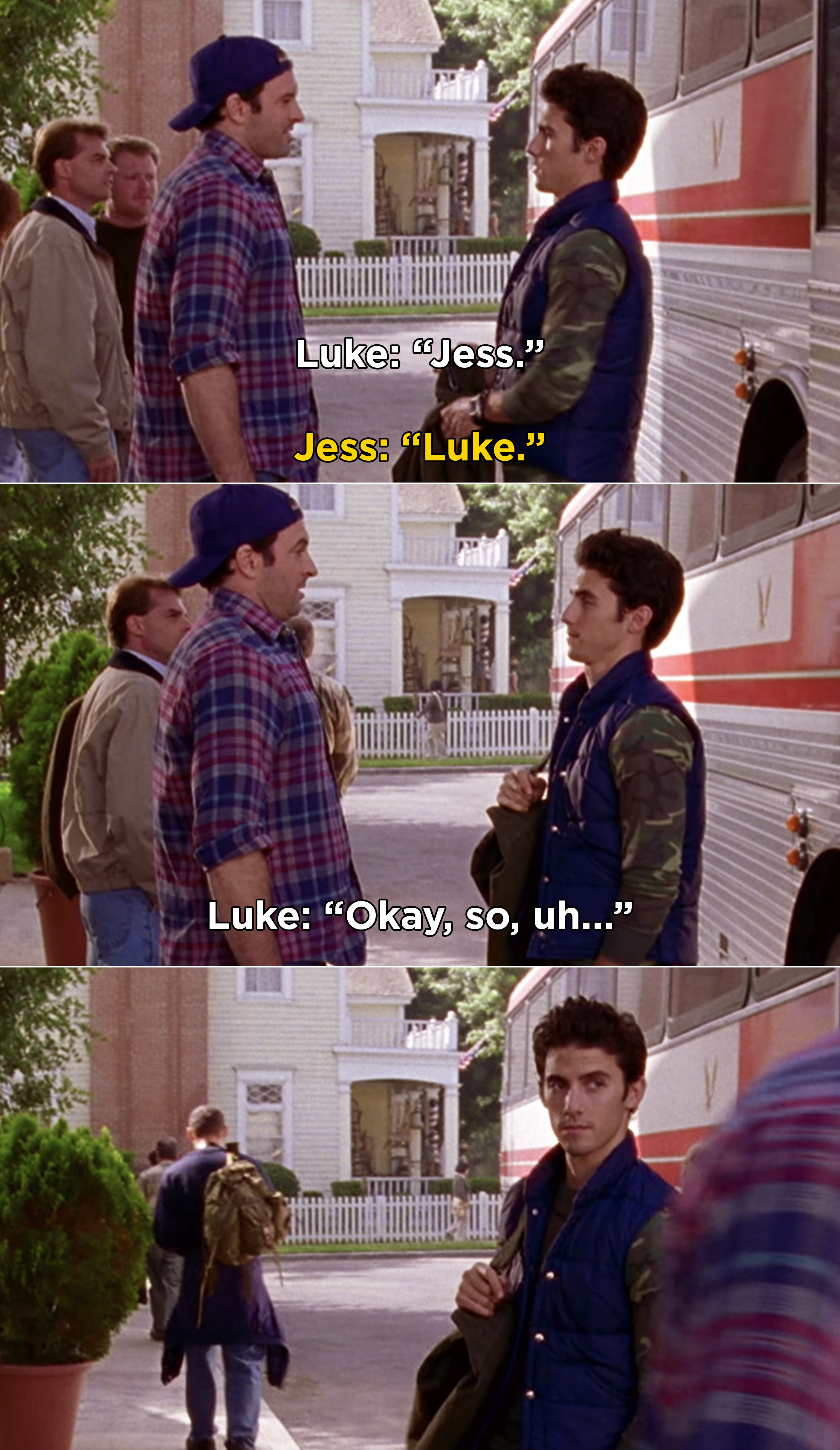 Luke and Jess awkwardly greeting each other after Jess steps off a bus