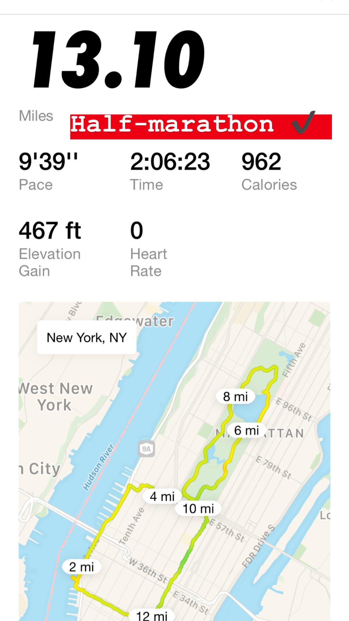 A screenshot from the Nike Run Club app, displaying 13.1 miles ran.