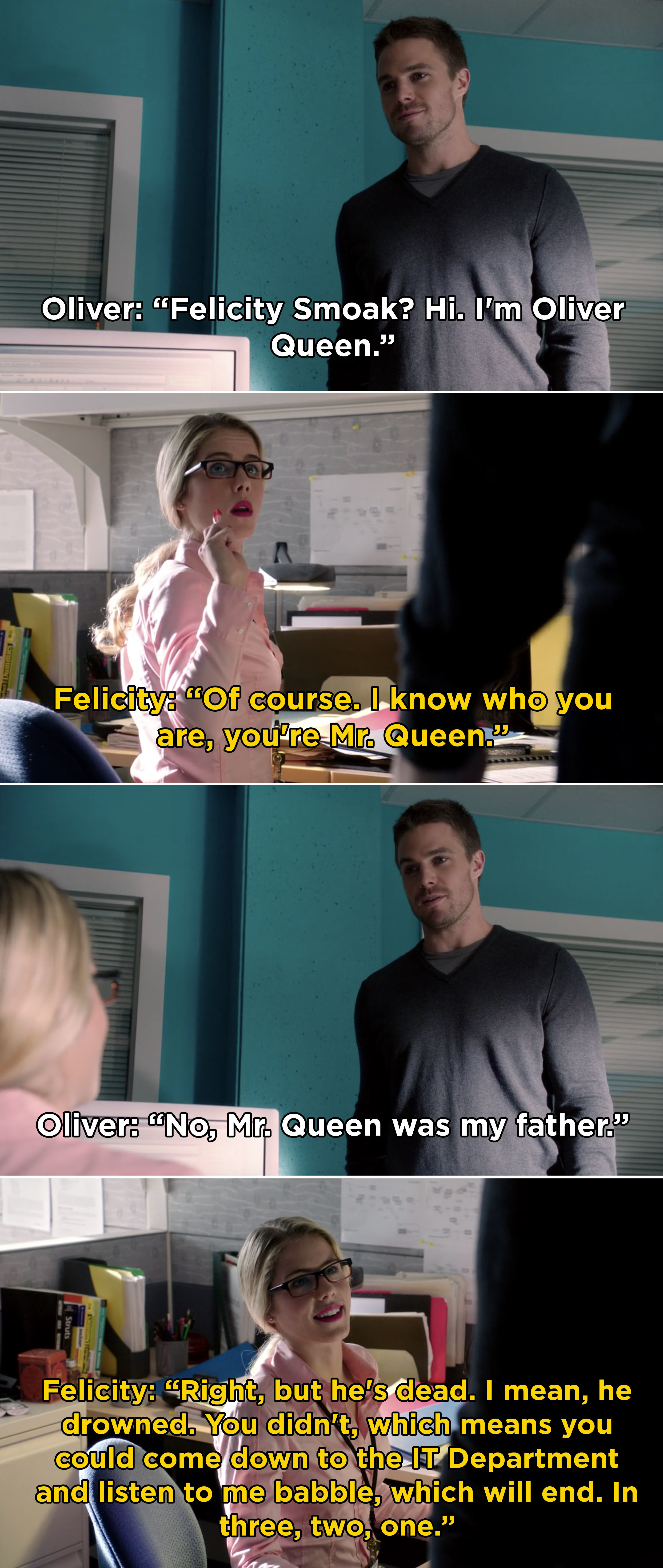Oliver in the IT department meeting Felicity for the first time