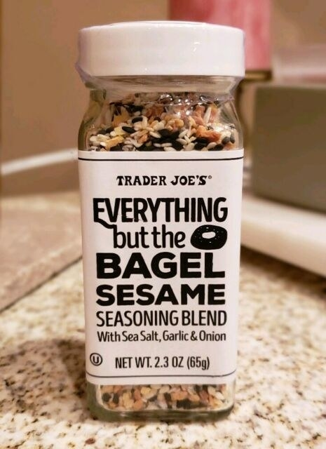 Bottle of Everything But the Bagel Seasoning from Trader Joe's on a kitchen counter