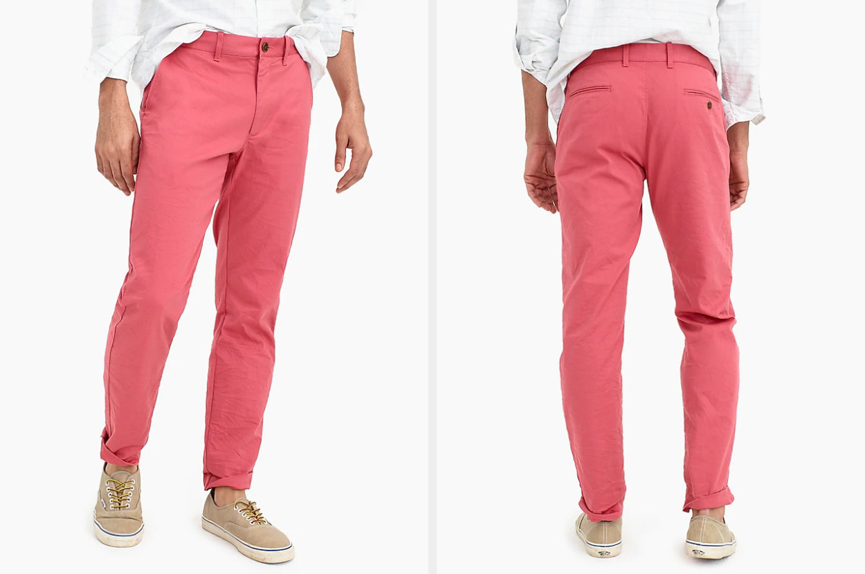 Front and back of a pair dusty red khaki pants worn by a model