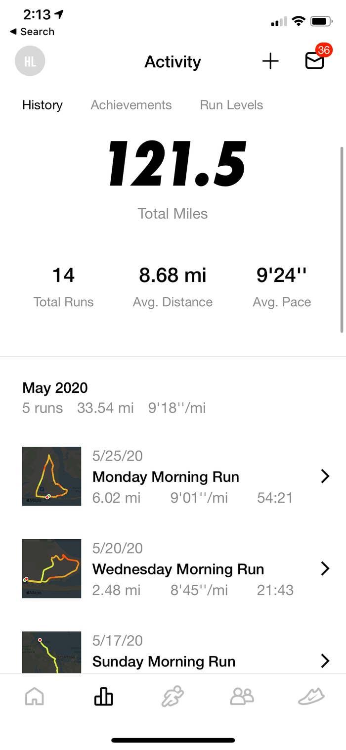 A screenshot of my running history on the Nike Run App.