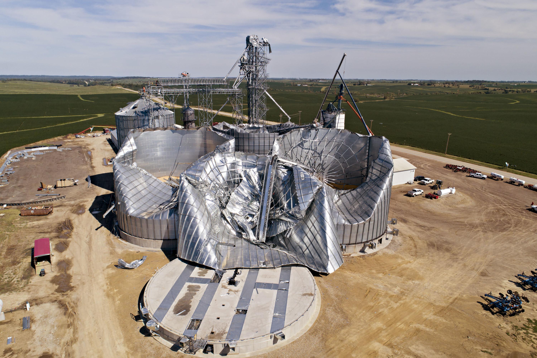 Crop silos broken in half