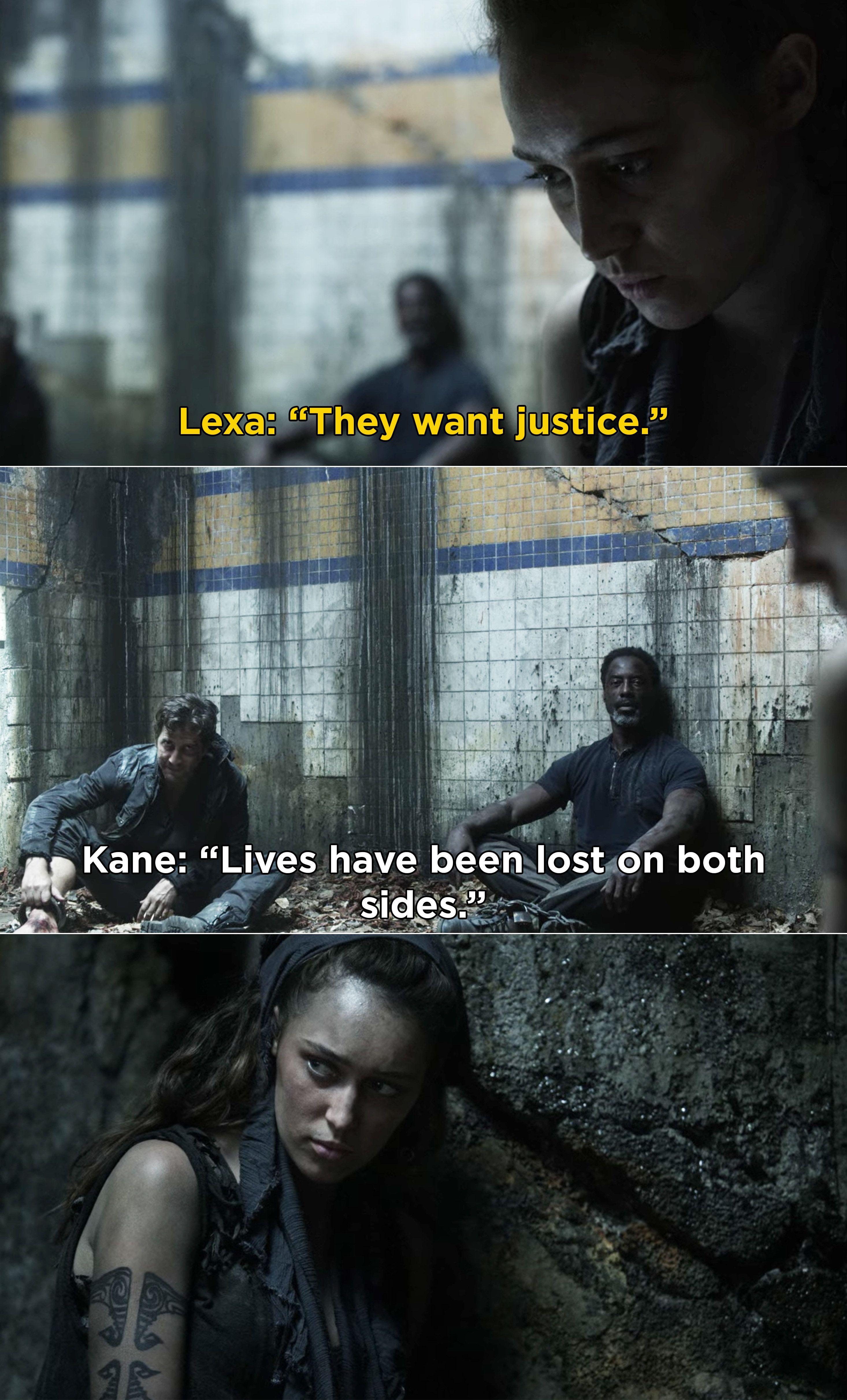 "Lexa telling Kane and Jaha, while pretending to be a prisoner, ""They want justice"""