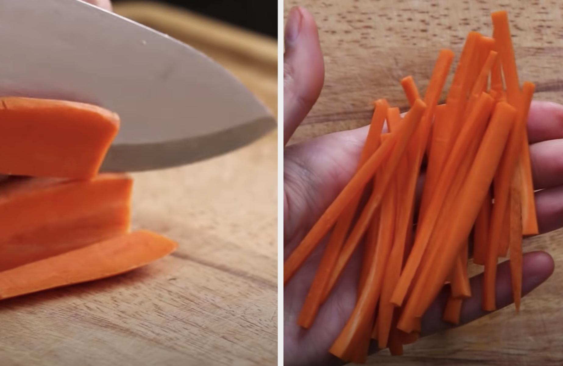 A sharp knife slicing through carrots