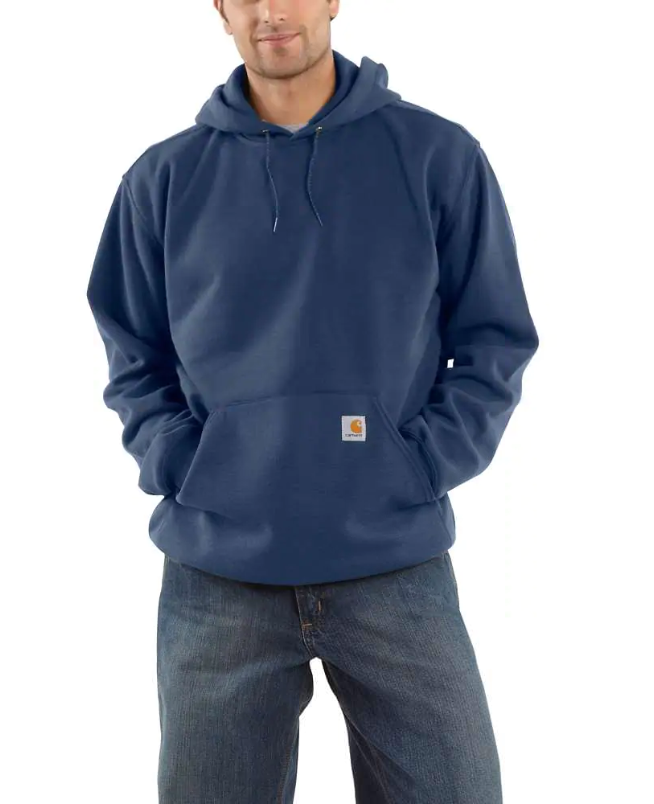 Model wearing a blue hooded sweatshirt with front pouch pocket
