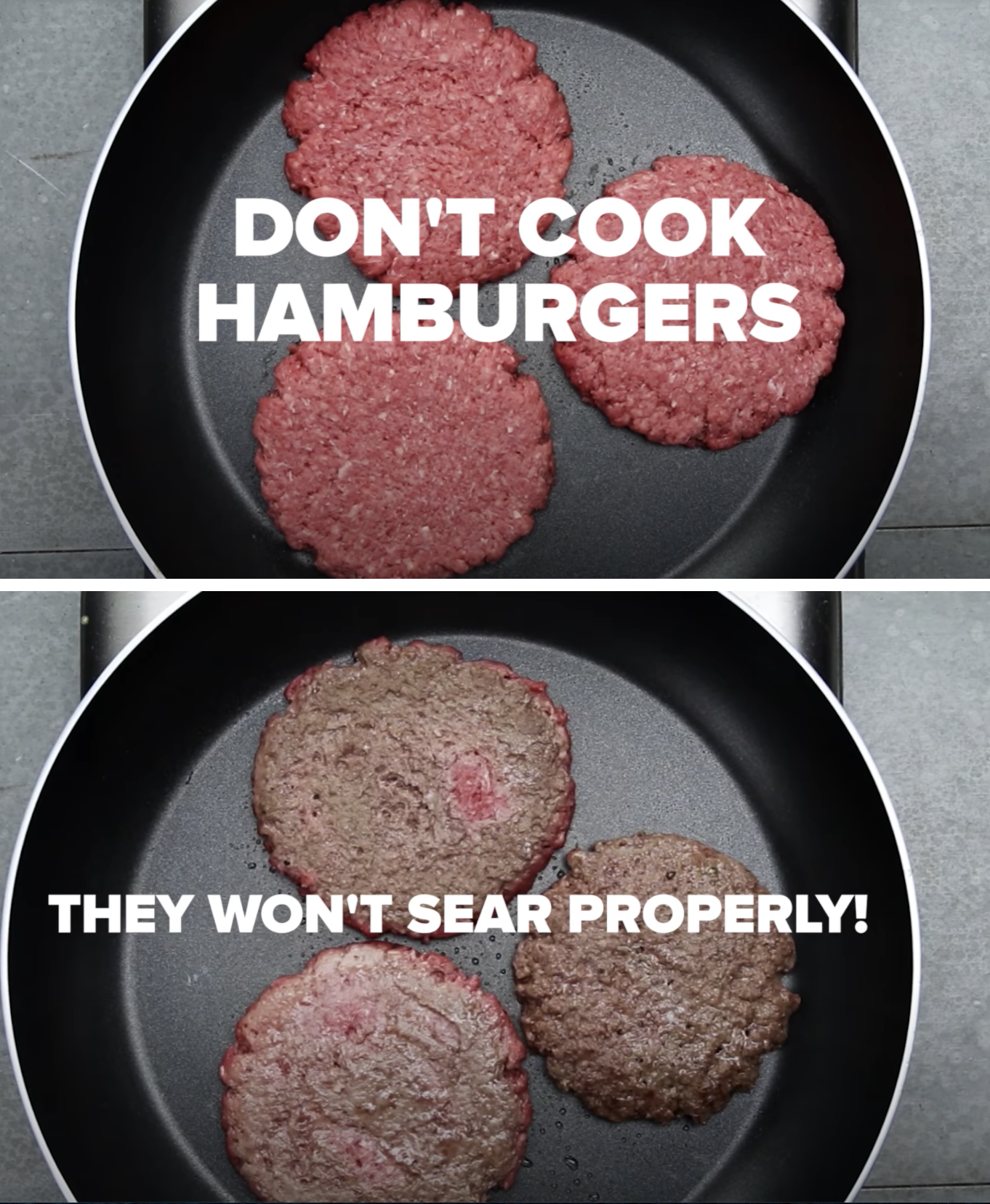 Burger patties cooking improperly in a non-stick pan