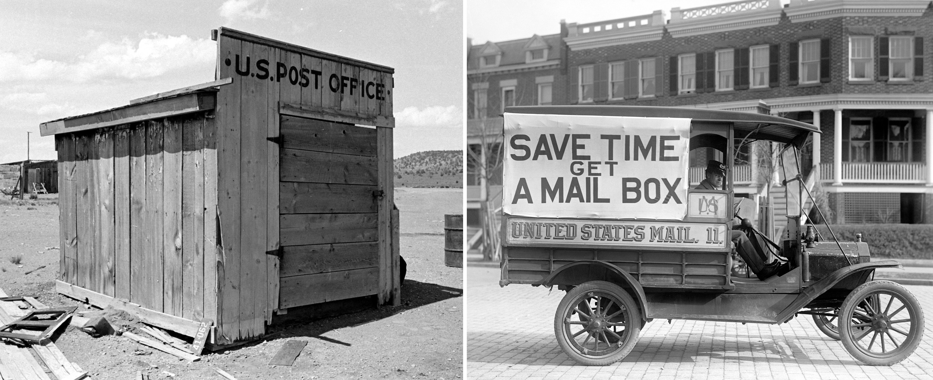 "A tiny shuttered wood building reading ""US Post Office"" in the middle of a desolate landscape, and a mail wagon that says ""save time, get a mail box in a city"