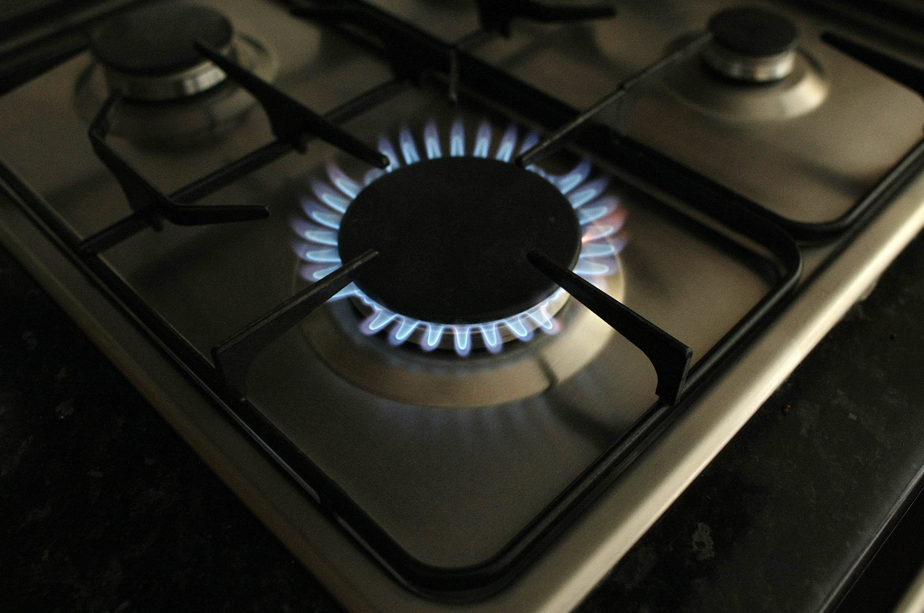 A stovetop burner turned to the highest heat setting