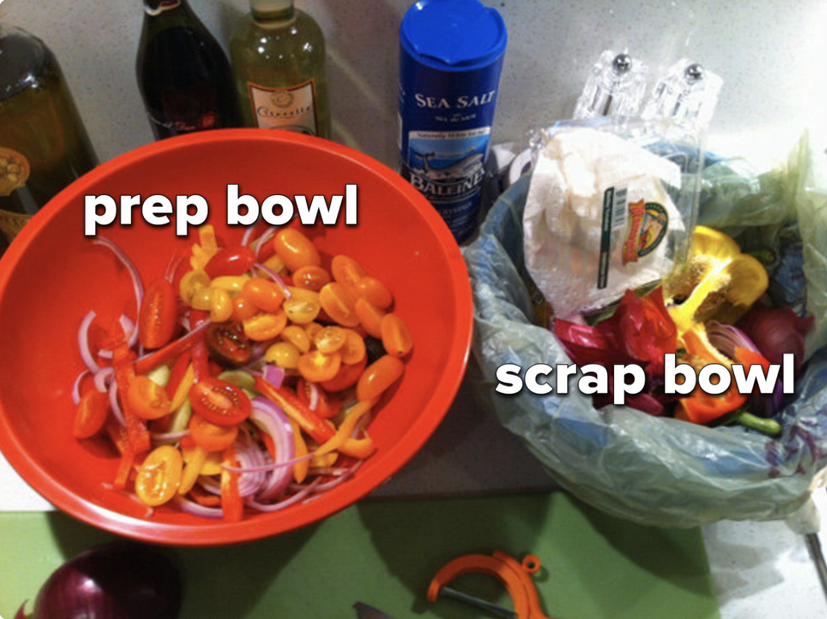 A countertop prep space with a 'prep bowl' and a 'scrap bowl' labeled