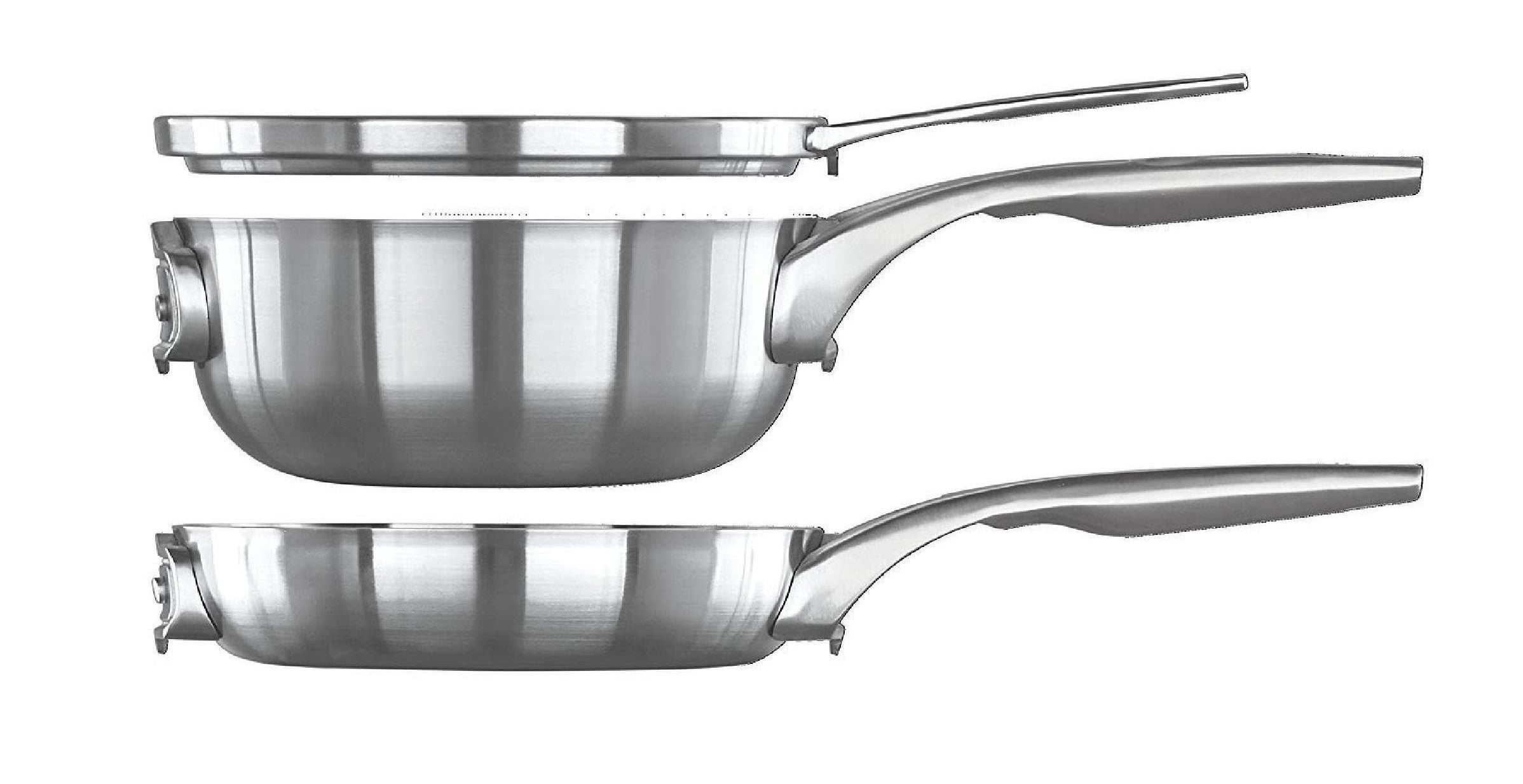Stack of three stainless steel pans